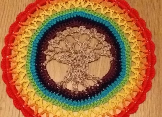 Haakwerk, Mandela met levensboom, regenboog